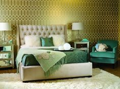 Love the headboard, the teal chair and the shag carpet.  Not a fan of the gold background.