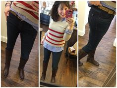 I got these jeans a couple of weeks ago, and they are greatness. They are a mid-rise jean, they are stretchy, comfy, and tuck very nicely into boots. And they are UNDER $70!  Named a MUST HAVE by Pinterest Told Me To!