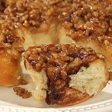 """sticky buns....But I'm thinking of using the frozen bread dough.  Love the pecan """"sauce"""" recipe though!"""