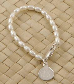 Freshwater Rice Pearl Engraved Bracelet| underthecarolinamoon.com
