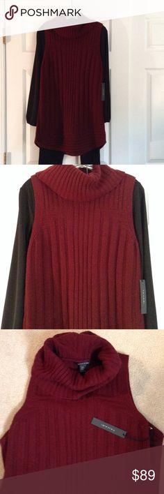 NEW TAHARI Sweater Sleeveless Tunic, wool&yak hair Lots of style with this 30 inch sweater tunic by TAHARI. Soft, made with 70% wool, 30% yak hair.  Wear with leggings & black tee. Hand wash. Maroon/wine. Tahari Sweaters