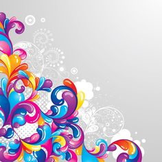 Set of Colored swirl vector backgrounds art 02