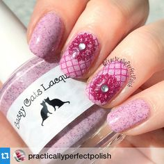 "Perfect in pink combo!! Love it by @practicallyperfectpolish with @repostapp. ・・・ Loving this girly, pretty mani! Question though...do thermals still therm when you use like 3 layers of topcoat? Polishes used: ""No Autographs"" from @sassycatslacquer. @mundodeunas stamping polishes Tools used: @uberchicbeauty stamping plate 1-03. @sassycatslacquer ""Kitty Kaps"" latex peel. Sally Hansen rhinestones. @joliepolish Cleab up brush. #manicure #nailartaddict #mani #nailswag #nailstamping #mundodeunas…"