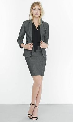 (Minus the) Leather Trim Tweed Skirt Suit Business Attire For Young Women, Work Suits For Women, Business Professional Outfits, Corporate Outfits, Corporate Wear, Professional Dresses, Clothes For Women, Young Professional, Suit Up