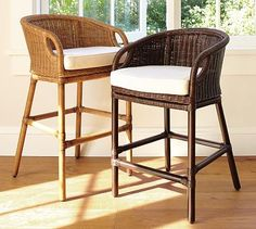 Wingate Rattan Barstool #potterybarn Might be torture to clean with four kids