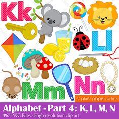 Alphabet Clipart Part 4 ABC clip art KLMN por pixelpaperprints