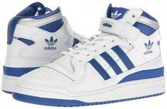 factory authentic 8f285 8c657 adidas Originals Forum Mid Refined (Footwear White Collegiate Royal Silver  Metallic) Men s Basketball Shoes