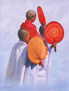 Thee Novices with Fans by Aung Kyaw Htet - oil on canvas