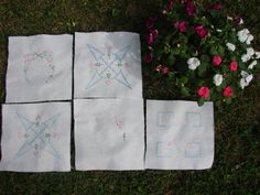 Vintage Quilt Squares, Hand Embroidered Set of Five by mycabbageroseshoppe on Etsy