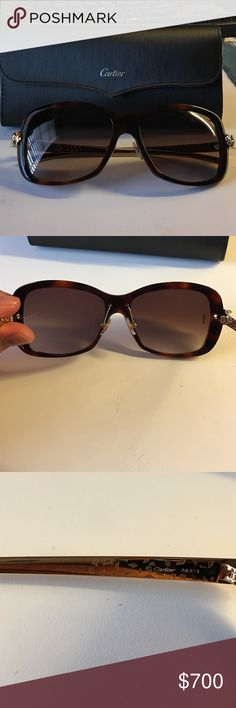 Panthere wild de Cartier sunglasses Worn a few times but in perfect condition and with no scratches or blemishes. Selling because it was not a good fit for my face. Comes with case. Retails for $1,000. Cartier Accessories Sunglasses