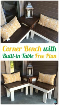 DIY Corner Bench with Built-in Table Free Plan Instructions - DIY Outdoor Patio Furniture Ideas