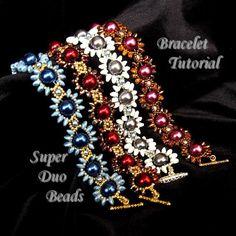 teklák, sd-k - Ghirlanda di Margherite (Daisy Chain) Bracelet Tutorial with SuperDuo Beads and Pearls PDF Tutorial, Super Duo via Etsy
