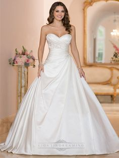 Sweetheart Ruched Bodice Princess Ball Gown Wedding Dresses…