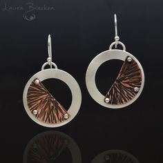 Sterling Silver and Copper Riveted Earrings Circle with Textured Half Moons