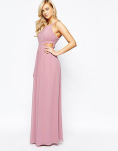Image 1 of Little Mistress Chiffon Maxi Dress With Cut Outs