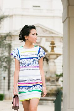 Summer Shift :: Floral Stripe Dress & Lilac Details by Wendy's Lookbook