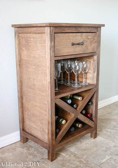 DIY Wine Cabinet: How To Tutorial can be found here! Finish it off with some of this: http://www.rustoleum.com/product-catalog/consumer-brands/wood-care/ultimate-wood-stain/ and/or some of this: http://www.rustoleum.com/product-catalog/consumer-brands/wood-care/ultimate-polyurethane/ and you have the perfect wine storage for all your entertaining!