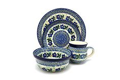 Polish Pottery 4pc Place Setting with Standard Bowl  Blue Pansy <3 Details on product can be viewed by clicking the VISIT button