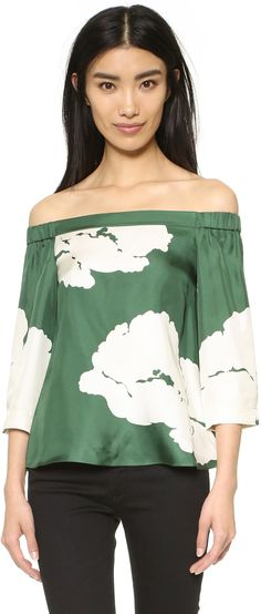 Must haves I fashion wishlist I trend I off the shoulder blouse I green floral print I Tibi Off Shoulder Top @monstylepin