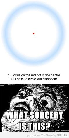 stare at the red dot in the center, and the blue circle goes away!