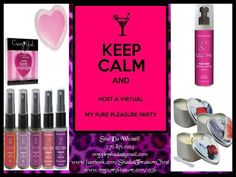 Host a virtual My Pure Pleasure party, and earn your favorite products when your friends shop exclusively for the best in bath, beauty, and bedroom accessories! Its easy. Your friends shop, and you reap the rewards! Learn more about this great way to party with My Pure Pleasure. CONTACT ME TODAY! myppbyshada@gmail.com   #MyPurePleasure #Women #Men #Couples #LGBT #Party #Parties #Mature #CoEd #Holidays #Special #Occasions