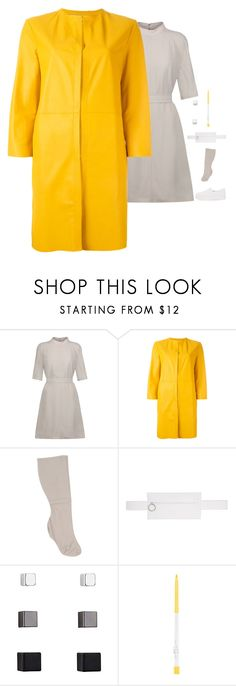 """""""Drome - Yellow Collarless Leather Coat Style"""" by twinklebluegem ❤ liked on Polyvore featuring Rick Owens, Drome, Jil Sander, Off-White and Opening Ceremony"""