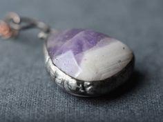 Declaración amatista colgante collar de piedras preciosas de