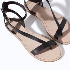 ZARA - NEW THIS WEEK - LEATHER ANKLE STRAP SANDAL