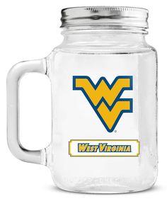 West Virginia Mountaineers Mason Jar Glass With Lid