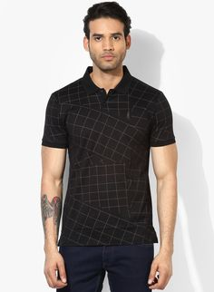 630e9647af3a2 Buy Arrow New York Black Printed Polo T-Shirt for Men Online India