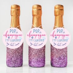 DIY these bachelorette favors or bridesmaid proposal with these cute champagne label stickers! | Bridesmaid Gifts | Bachelorette Party Favors | Bridesmaid Proposal Ideas | Bridal Party Gifts | Glitter Mini Champagne Bottles | Bachelorette Party Ideas | Pop the Champagne I'm Changing my Last Name | #bachelorette #champagne #bacheloretteparty