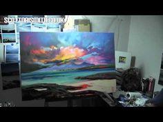 Painting Demonstration: Sanna Sky Part 2 Acrylic Painting Tutorials, Painting Videos, Sky Painting, Painting & Drawing, Bob Ross Paintings, Art Paintings, Beach Art, Art Techniques, Art Tutorials