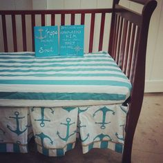 Nautical Turquoise Anchor and Stripe Pleated Crib Skirt and Fitted Sheet Set