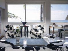 The Holstein cow printed chairs, ottoman and sofa show Beene's playful attitude towards design.   - Veranda.com