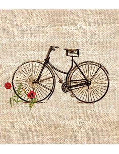 Vintage bicycle digital download image Bicycle and poppies for fabric transfer…