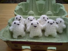 Adipose in an egg carton!  Doctor Who Crochet