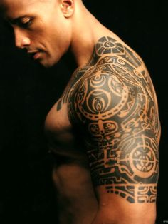 "Dwayne ""The Rock"" Johnson with Polynesian Tattoos"