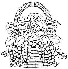 Pintura em Tecido ,Dicas, Materiais e Passo a Passo: Riscos Para Pintura em Tecido Cestas de Flores