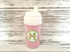 monogram toddler sippy cup  chevron prints by monkeyseeboutique, $12.00