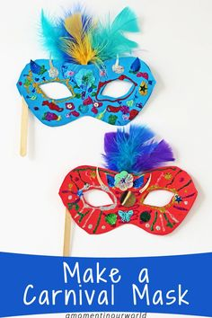 One of the biggest festivals in Rio, Brazil is the Carnival. So, let's get creative and make a Carnival Mask! Let your kids decorate these masks with lots of fun and colourful supplies! To make these bright and colourful Carnival Masks, you will need: Pri Carnival Activities, Diy Carnival, Brazil Carnival, Carnival Masks, Carnival Crafts Kids, Carnival Supplies, Carnival Decorations, Kids Crafts, Sand Crafts