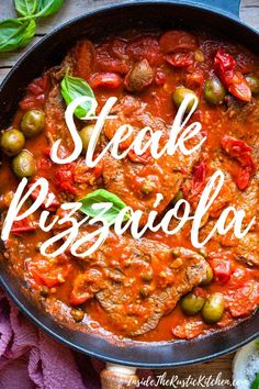 The easiest Steak Pizzaiola recipe made with juicy, perfectly cooked steak and a rich flavour-packed tomato sauce made with cherry tomatoes, olives, and capers. This super easy, stovetop recipe is ready in under 30 minutes. Italian Dinner Recipes, Italian Dishes, Italian Foods, Italian Cooking, Steak Recipes, Cooking Recipes, Steak Meals, Game Recipes, Yummy Recipes