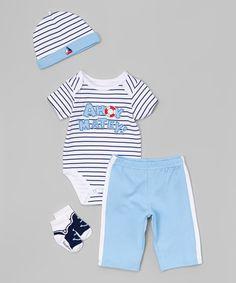 Vitamins Baby Blue Stripe Ahoy Matey Bodysuit Set - Infant   zulily