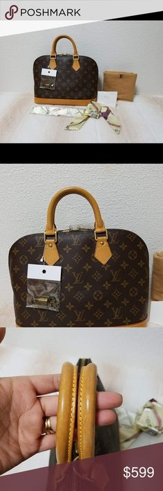 Authentic Louis Vuitton Alma PM Pre-loved Auth Louis Vuitton Alma PM in good condition with signs of wear. Patina has changed into honey color, it has few scratches and watermarks and stains. NO holes, rips or tear. Bag is complete with padlock and key and dustbag. Louis Vuitton Bags Satchels