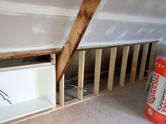 Storage for the playroom under the eaves
