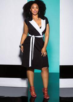 Contrast Collar Plus Size Coat Dress at AshleyStewart