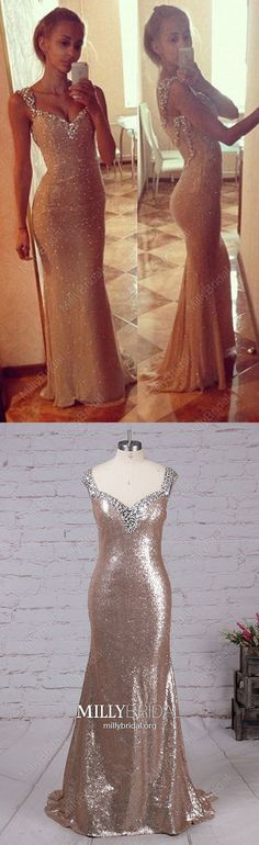 Long Prom Dresses Sparkly,Gold Prom Dresses Mermaid,V-neck Prom Dresses Sequins,Sexy Prom Dresses Open Backs