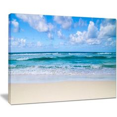 "DesignArt Serene Blue Tropical Beach Large Seashore Photographic Print on Wrapped Canvas Size: 12"" H x 20"" W x 1"" D"