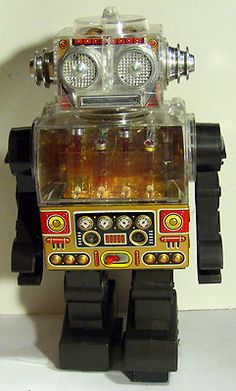 Vintage Japan Battery Operated Tin Plastic Piston Robot Excellent Works | eBay