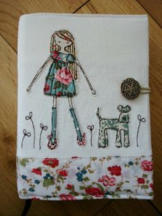 Girl and dog embroidery and applique. Freehand Machine Embroidery, Free Motion Embroidery, Free Machine Embroidery, Free Motion Quilting, Embroidery Applique, Cross Stitch Embroidery, Embroidery Patterns, Sculpture Textile, Art Textile
