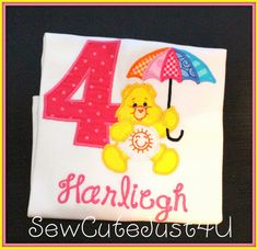 Care Bears Themed Birthday Number Shirt by SewCuteJust4U on Etsy, $20.00